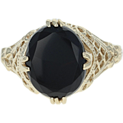 Onyx Ring - 10k Yellow Gold Solitaire Women's Size 9