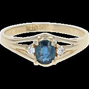 Sapphire & Diamond Ring - 14k Yellow Gold Size 6 1/4 Oval .65ctw