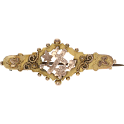 1800s Flower Cross Brooch - Antique Pin 9k Yellow Gold