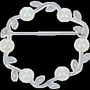 Cultured Pearl & Diamond Wreath Brooch - 14k White Gold Women's Pin