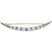 Art Deco Sapphire & Seed Pearl Crescent Moon Brooch - 14k Gold Vintage 1.06ctw