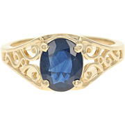 Sapphire Solitaire Ring - 14k Yellow Gold Women's Size 6 3/4 Oval 1.61ct