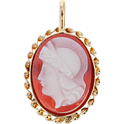 Vintage Carved Agate Cameo Pendant - 10k Yellow Gold Silhouette