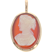 Vintage Carved Hardstone Agate Cameo Pendant - 10k Yellow Gold Silhouette