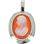 Small Carved Hardstone Agate Cameo Pendant - 10k White Gold Vintage
