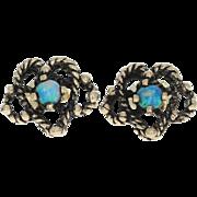 Vintage Opal Flower Earrings - 14k Yellow Gold Studs Pierced