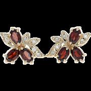 Garnet & Diamond Earrings - 14k Yellow Gold Oval Brilliant Pierced 1.56ctw