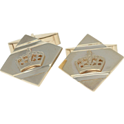 Crown Cufflinks - 10k Yellow Gold Men's Folding Bar Back