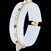 "Ruby & Diamond Link Bracelet 6 3/4"" - 14k Yellow Gold Round Brilliant 2.25ctw"
