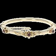 """Edwardian Garnet & Seed Pearl Bangle Bracelet 6 1/2"""" - 14k Gold Vintage .48ctw"""