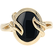 Black Onyx Solitaire Ring - 10k Yellow Gold Bypass Women's Size 6 3/4