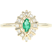 Emerald & Diamond Halo Ring - 14k Yellow Gold Marquise Brilliant .41ctw