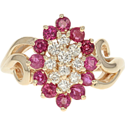 Diamond & Ruby Cluster Ring -14k Yellow Gold Halo Bypass Round Brilliant 1.30ctw