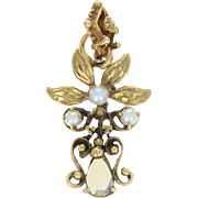 Vintage Opal & Seed Pearls Flower Pendant - 14k Yellow Gold Floral