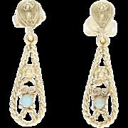 Vintage Opal Teardrop Dangle Earrings - 14k Yellow Gold Floral Pierced