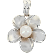 Cultured Pearl Flower Pendant - 14k White Gold Floral 7.3mm