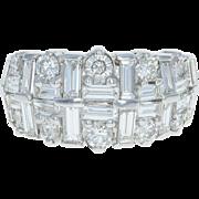 Diamond Ring - 14k White Gold Round Brilliant & Baguette 3.00ctw