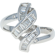 Diamond Bypass Ring - 14k White Gold Size 7 Baguette Cut .37ctw