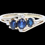 Sapphire & Diamond Bypass Ring - 14k Gold Three-Stone Oval Brilliant .71ctw