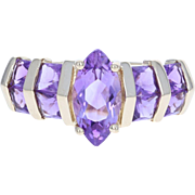 Amethyst Ring - 14k Yellow Gold Size 6 - 6 1/4 Marquise & Princess 1.70ctw