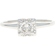 Vintage Diamond Solitaire Engagement Ring - 900 Platinum Round Cut .56ct