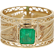 Emerald Solitaire Ring - 18k Yellow Gold Women's Emerald Cut .97ct