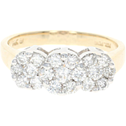 Diamond Ring - 14k Yellow Gold Cluster Trio Halo Round Cut 1.00ctw