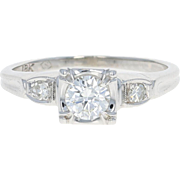 Retro Diamond Engagement Ring - 18k White Gold Vintage Round Cut .41ctw