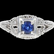 Sapphire & Diamond Ring - 18k White Gold Round Cut .74ctw