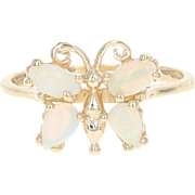 Opal Butterfly Ring - 14k Yellow Gold Marquise & Pear Cabochon .48ctw