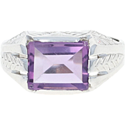 Art Deco Amethyst Ring - 10k White Gold 7 3/4 - 8 Men's Vintage 2.20ct