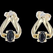 Sapphire & Diamond Earrings - 14k Yellow Gold Pierced .73ctw