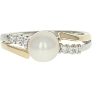 Cultured Pearl & Diamond Bypass Ring - 14k White & Yellow Gold 7mm
