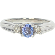 Tanzanite & Diamond Ring - 14k White Gold Engagement Oval Brilliant .45ctw