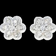 Floral Diamond Stud Earrings - 14k White Gold Pierced Single Cut .25ctw