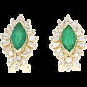 Emerald & Diamond Halo Earrings - 14k Yellow Gold Pierced 1.60ctw