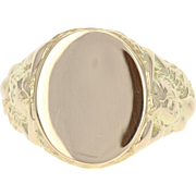 Engravable Vintage Signet Ring - 14k Yellow Gold Oval Men's 9 1/4 - 9 1/2