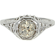 Art Deco Diamond Engagement Ring - 18k Gold Vintage Solitaire Mine Cut .91ct