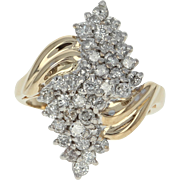 Diamond Bypass Ring - 14k Yellow Gold Tiered Cluster Round Cut 1.00ctw