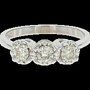 Vintage 3-Stone Diamond Ring - 14k White Gold Engagement Right Hand 0.60ctw