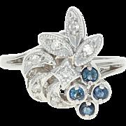 Vintage Sapphire & Diamond Bypass Ring - 10k White Gold Milgrain .30ctw