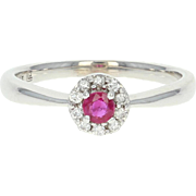 Ruby & Diamond Halo Ring - 14k White Gold Promise Engagement .28ctw