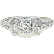 Art Deco Diamond-Accented Ring - 14k White Gold Vintage Old European Cut
