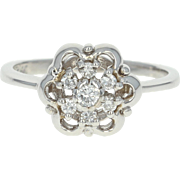 Floral Diamond Ring - 14k White Gold Size 6 1/2 Round Cut .17ctw