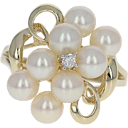 Pearl Cluster Ring w/ Diamond Accent - 10k Yellow Gold Cultured Pearls