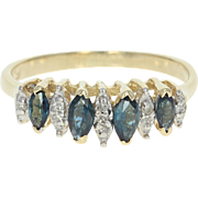 Tiered Sapphire & Diamond Ring - 14k Yellow Gold Marquise Brilliant .57ctw
