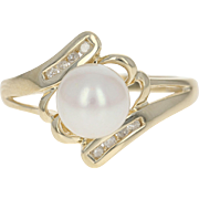 Cultured Pearl & Diamond Bypass Ring - 10k Yellow Gold Women's 7.2mm