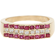 Ruby & Diamond Ring - 14k Yellow Gold Size 6 1/2 Baguette Cut .63ctw
