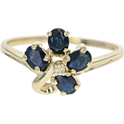 Floral Sapphire & Diamond Ring - 14k Yellow Gold Size 6 3/4 Oval 1.13ctw