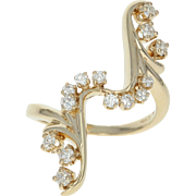 Diamond Bypass Ring - 14k Yellow Gold Round Brilliant Cut .35ctw